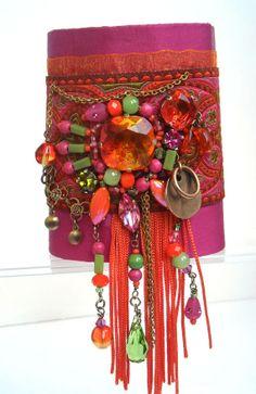 Bracelet manchette textile de créateur bohême par kalaniparis