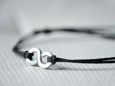 For Him Infinity Bracelet   Aluminium wire and waxed by Kosmika, €10.00