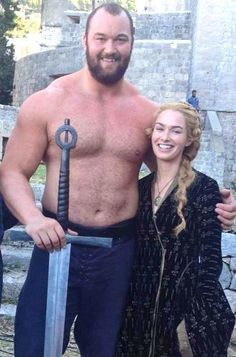 "On Game of Thrones he's known as ""The Mountain"". In real life, he's 25-year-old strongman Hafthor Bjornsson, standing 6'9"" & weighing 190kg / 420lb."
