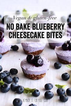 No Bake Blueberry Cheesecake Bites (Vegan & GF) - Ai made it for you bites easy bites keto bites mini bites no bake bites no bake easy bites recipes No Bake Blueberry Cheesecake, Vegan Cheesecake, Cheesecake Bites, Cheesecake Recipes, Mini Desserts, No Bake Desserts, Easy Desserts, Delicious Desserts, Vegan Blueberry