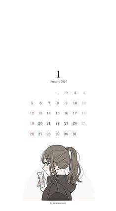 Anime Girl Drawings, Kawaii Drawings, Anime Art Girl, Cute Drawings, Kawaii Art, Kawaii Anime, Cute Calendar, Calendar Wallpaper, Dibujos Cute