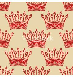 Vintage seamless background with red crown pattern vector - by Happinnes on VectorStock®
