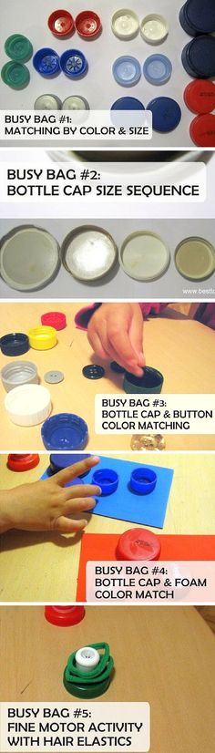 Best Toys 4 Toddlers - 5 simple busy bags with bottle caps to work on fine motor skills, colors, sizing and more, perfect for toddlers and preschoolers