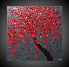 Origineel abstract acryl schilderij moderne structuur schilderkunst tree blossom bloemen muur Grijs Zwart Rood 60 x 60 cm. $235,00, via Etsy.