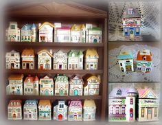 I've always wanted a set of these adorable little spice jars that mirror Victorian houses.My shabby chic kitchen really needs these. Romantic Shabby Chic, Shabby Chic Pink, Kitchen Things, Kitchen Stuff, Lenox Village, Lenox Christmas, Shabby Chic Kitchen, Spice Jars, Suzy