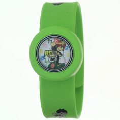 TimerMall Original Cartoon Ben 10 White Dial Cute Green Kids Watches. Description: The watches band is made of silicone which color is green .And the watches has cartoon pattern in the band.Cartoon character watches has a cartoon character pattern and round dial.The funny cartoon style watches with its cute styled character. Clear standard numbers and bright colours make this watch appealing and attention grabbing.