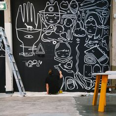 "Koskela chats to Ghostpatrol: ""I like that it's temporary. The wall in the gallery is a free flowing mind dump of drawings."""
