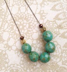 Rustic Turquoise Strand Necklace  Simple  by PaganucciDesigns, $26.00