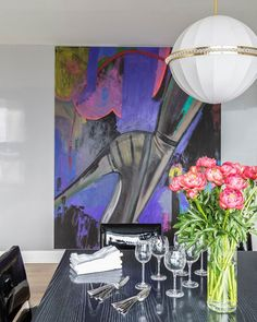 Ellen Birkenblit's Metallic Bouquet, 2013, adds a shot of saturated color to the space.