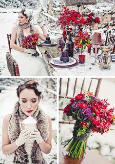 Red & Plum Winter Wedding Style Shoot - WeddingWire: The Blog