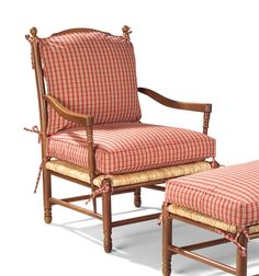 Eastwick Upholstered Arm Chair Country French ladder back chair Rush seat with Tie on reversible back cushions Blendown seat cushion Welt trim