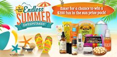 I just entered the Puritan's Pride 'Endless Summer' Sweepstakes for a chance to win a fun in the sun prize pack worth $200.  You should too!  Enter here: http://bit.ly/Endless-Summer-Sweepstakes