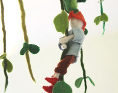 Gnome Home Felted Mobile Ornament baby crib mobile by CloudMobiles