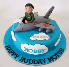 Indian air force fighter pilot theme customized designer fondant cake with pilot in plane for pilot's birthday at Pune Hubby Birthday, 40th Birthday Parties, Birthday Cakes, Fondant Wedding Cakes, Fondant Cakes, 3d Cakes, Cake 5 Year Old Boy, Cake Home Delivery, Birthday Cake Decorating