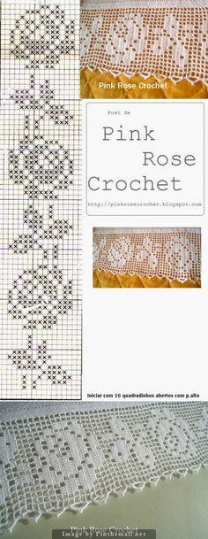 Filet crochet lace edging Perfect Rose ~~ Rosa Perfeita ~~ Baby Irish scallops…