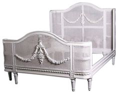 Bella French Provincial Cane Bed in White, King traditional-beds