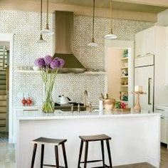 eclectic kitchen | painted tile
