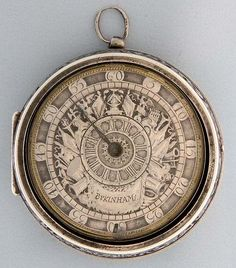 Very fine and very rare English silver pair case verge and fusee antique pocket watch with differential dial by Bukinham, London, circa 1700. Beautiful cast silver champleve differential dial with rotating center Roman numeral hour ring within military iconography including cannons, armor, drums, banners, and ancient weapons, and blued steel hand. The movement with large pierced end engraved cock with mock pendulum and engraved with Bellona, the ancient Roman goddess of war on a trophy of