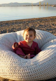 hand crocheted pouff