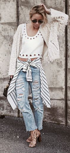 That Jacket , White Crop Top , Stripes Shirt , Ripped Denim, Lovely Lace Sandal