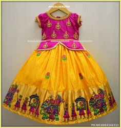 Kids tradational wear desings by Angalakruthi boutique Bangalore Kids wear Custom designs by Angalakruthi boutique Bangalore Hand Embroidery designs on kids frock by Angalakruthi