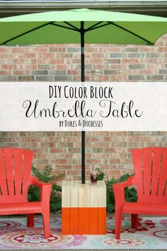 DIY color block umbrella table #3MPartner #TheHomeDepot #ad