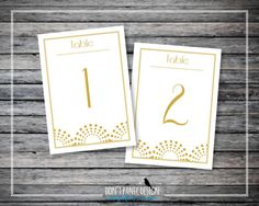 Printable Wedding Table Numbers 1-30 - Gold Art Deco Wedding Table Roaring '20's Event Table Numbers - Dinner Table - Instant Download
