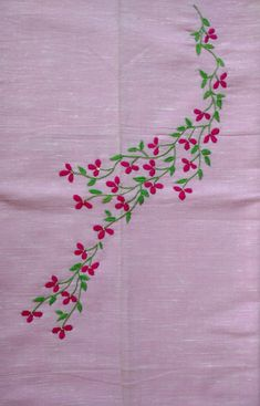 Embroidery On Kurtis, Kurti Embroidery Design, Floral Embroidery Patterns, Hand Embroidery Videos, Hand Work Embroidery, Embroidery Flowers Pattern, Hand Embroidery Stitches, Embroidery Fashion, Ribbon Embroidery