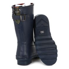 Barbour Womens Navy Short Jarrow Wellington Boots Blue