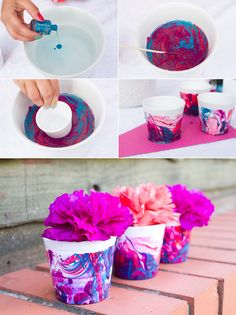 How To Make Marble Effect Favour Pots Nail Polish Marble Effect Favour Pot DIY Tutorial Mini plant pots//Nail polish// Bucket of water Step Fill bucket with water. Step Pour in nail varnish, letting it spread across the top of the water. Flower Pot Crafts, Clay Pot Crafts, Diy And Crafts, Crafts For Kids, Painted Flower Pots, Painted Pots, Diy Nagellack, Nail Polish Crafts, Felted Soap