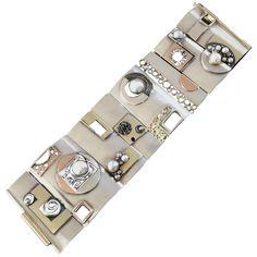 Brigitte Klosowski 1960s Unique Mid-Century Modernist Pearl Gold Silver Bracelet | From a unique collection of vintage cuff-bracelets at https://www.1stdibs.com/jewelry/bracelets/cuff-bracelets/