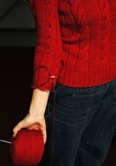 knitting sleeve down from the armhole