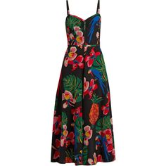 Valentino Tropical Dream-print silk crepe de Chine dress (17.250 RON) ❤ liked on Polyvore featuring dresses, vestidos, gown, black multi, crepe de chine dress, mixed print dress, pineapple print dress, silk print dress and sweetheart dress