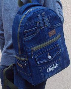 Unique Patchwork Upcycled Eco Jeans Denim Backpack Sailor Bag with Pockets Fabric Bags, Denim Fabric, Mochila Jeans, Jean Backpack, Sewing Jeans, Jean Purses, Denim Handbags, Denim Ideas, Linen Bag