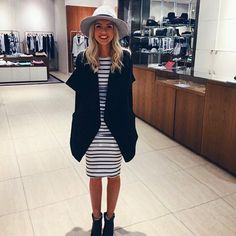 How cute does Elise look wearing the Michigan Fedora, Prudence Dress, Manhattan Drape Cardigan and Valdez Day Boot