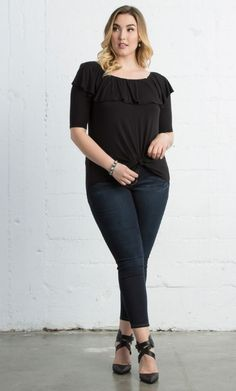 Curvalicious Clothes :: Plus Size Tops :: Kelsey Flounce Top - Black Noir