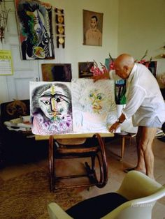 Pablo Picasso Arranging Displays of His Paintings at His Home in Notre-Dame-De-Vie, Mougins Premium Photographic Print