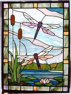 Dragonflies - from Delphi Artist Gallery idea for stained glass coloring Dragonfly Stained Glass, Stained Glass Quilt, Stained Glass Flowers, Glass Butterfly, Faux Stained Glass, Stained Glass Panels, Stained Glass Projects, Mosaic Glass, Mosaic Mirrors