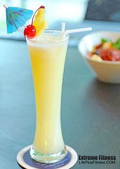 Burn fat while drinking this delicious pina colada. It is sweet and yummy ...1 cup fresh pineapple chunks  1/2 cup unsweetened coconut milk  1/2 cup coconut water  1/2 frozen banana  1/4 cup ice cubes  2 teaspoons honey, optional  Pineapple wedges, for garnish