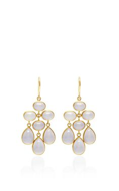 One of a Kind Purple and Blue Chalcedony Trapeze Earrings by Mallary Marks for Preorder on Moda Operandi