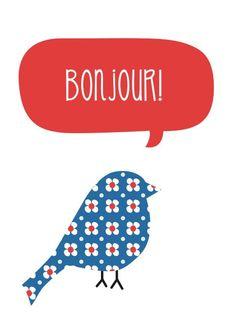 Greeting Card - 'Bonjour'. $5.00, via Etsy.