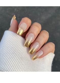 Gold Tip Nails, Gold Coffin Nails, Acrylic Toe Nails, Coffin Press On Nails, Gold Glitter Nails, Sparkle Nails, French Tip Nails, Opi Gel Nail Colors, Opi Gel Nails