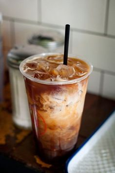 An iced coffee with delicious cream.