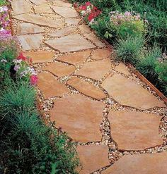"A mortarless flagstone path that's  a practical foolproof project.  ""It's not very technical and doesn't require any power tools,"""