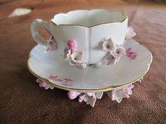 Meissen Flower Encrusted Porcelain Six Footed Demitasse Cup & Saucer
