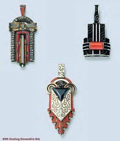 Art Deco silver, onyx, marcasite, citrine, coral and enamel pendants, Gustav Braendle / Theodor Fahrner, Germany 1930.