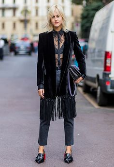 It's true that if you invest in a sleek velvet blazer, it's going to up your outfit game again and again. Go full fashion with a midi-length tassel number and turn up the textures with denim and lace