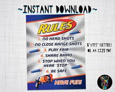 Image result for free downloadable nerf invitations