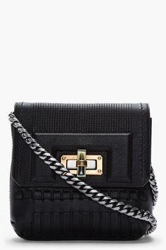 8bc8fd570800 Small leather shoulder bag in black. Gunmetal and gold tone hardware. Tonal  woven leather. Cute PursesPurses ...