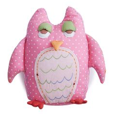 Baby Owl Shaped Pillow-Pink | The Little Acorn. With a little toothfairy pocket in the back for treats and little love-notes for your little one!